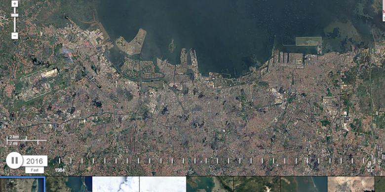 Reklamasi Teluk Jakarta Terekam Satelit Google Earth