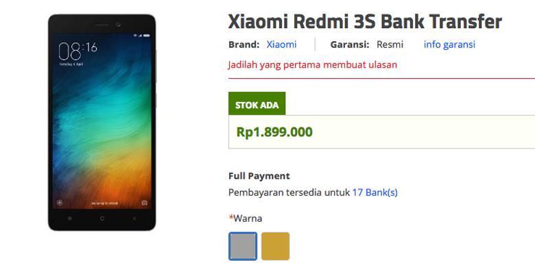 screenshot --Redmi 3s sudah mulai dijual melalui situs belanja online Erafone