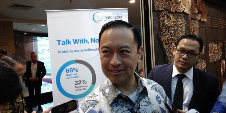 Kepala Badan Koordinasi Penanaman Modal (BKPM) Thomas Trikasih Lembong usai acara Edelman Trust Barometer, di Jakarta, Rabu (8/2/2017).