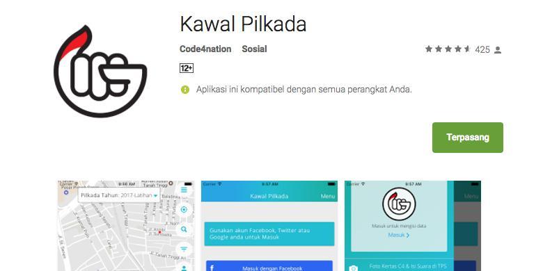 Aplikasi Kawal Pilkada di Google Play Store(screenshot)