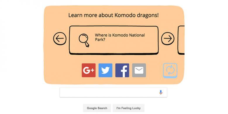 Bagian akhir doodle mengajak pengguna untuk menelusuri informasi lebih jauh mengenai Komodo.