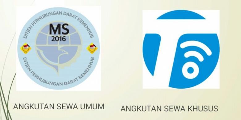 Stiker khusus yang akan dipakai taksi online (kanan) yang membedakannya dari angkutan konvensional (kiri).