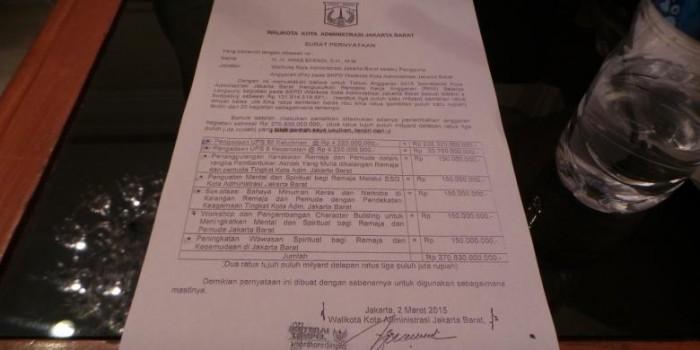 Ini Surat Pernyataan Wali Kota Jakbar soal Anggaran Siluman dan UPS