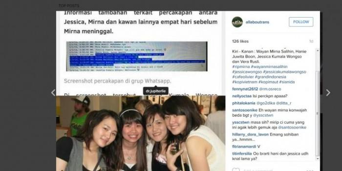 Beredar di Instagram Foto dan Gambar WhatsApp Jessica dan Mirna