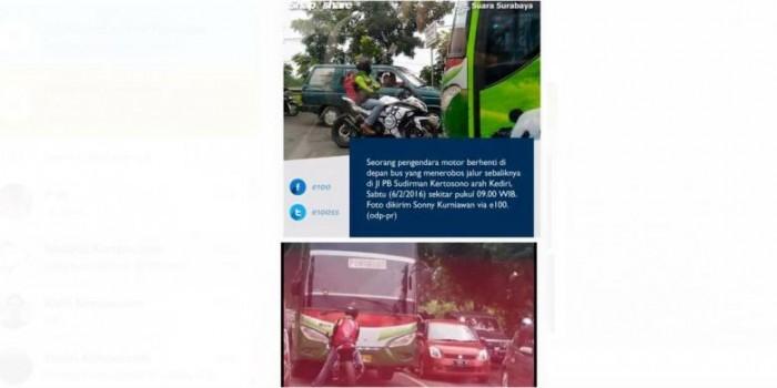 Aksi Nekat Pengendara Motor Mengadang Bus Ramai di Facebook